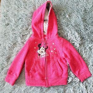 Girls Minnie Mouse Pink Zip Up Hoodie